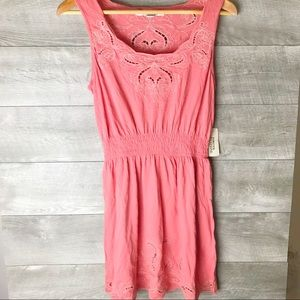 Forever 21 pink cutout embroidered summer dress